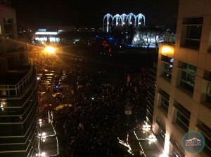 New Years Eve 2013-2014 in Seattle at the Space Needle Fireworks crowd