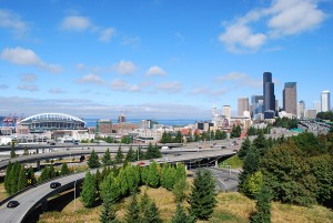 The view of downtown Seattle fro Dr. Jose Rizal Bridge.