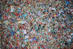 Thousands of pieces of chewed up gum at the Gum Wall