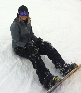 Tove snowboarding at Schweitzer Mountain