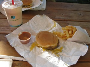 Alpen Drive-In's classic cheese burger, french fries and Alpen Dipping sauce
