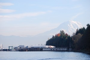 The view of Mount Rainier from Ownen's Beach at Point Defiance Park