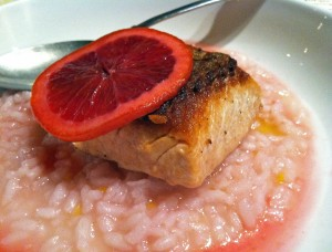 Epic Ales Gastropod Wild steel head with blood orange risotto and pickled blood orange