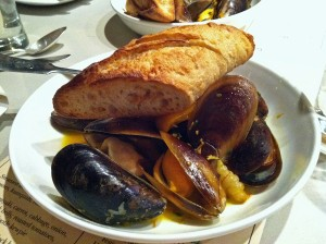 Epic Ales Gastropod Steamed honey mussels with saffron, crosnes, kumquats and rosemary