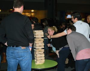 People love the life-size games at the Best Damn Happy Hour in Seattle.