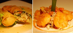 Dungeness Crab Spring Rolls and Sriracha Lime White Prawns at Ponti Seafood Grill